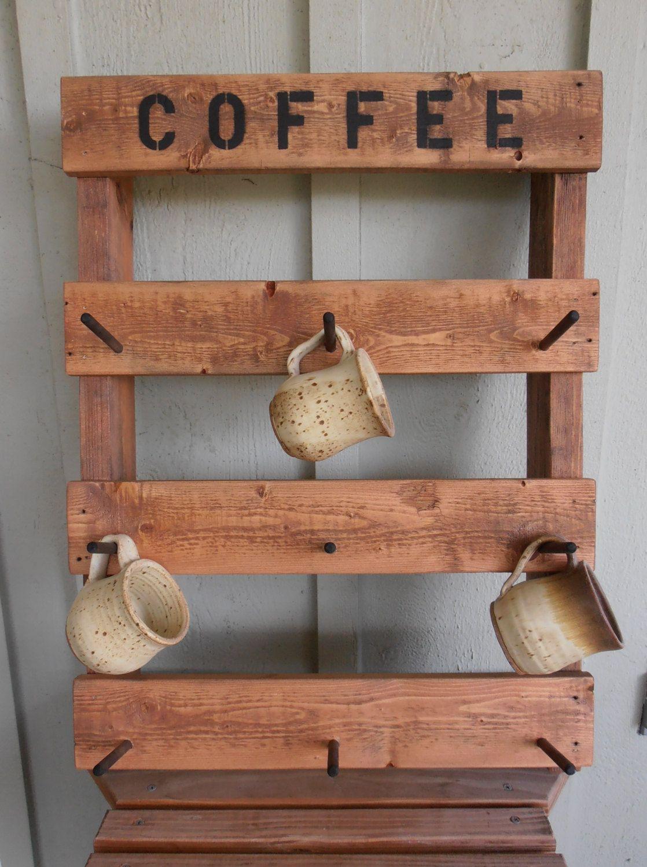 Rustic Pallet Wood Coffee Tea Mug Rack By Wilewood On Etsy