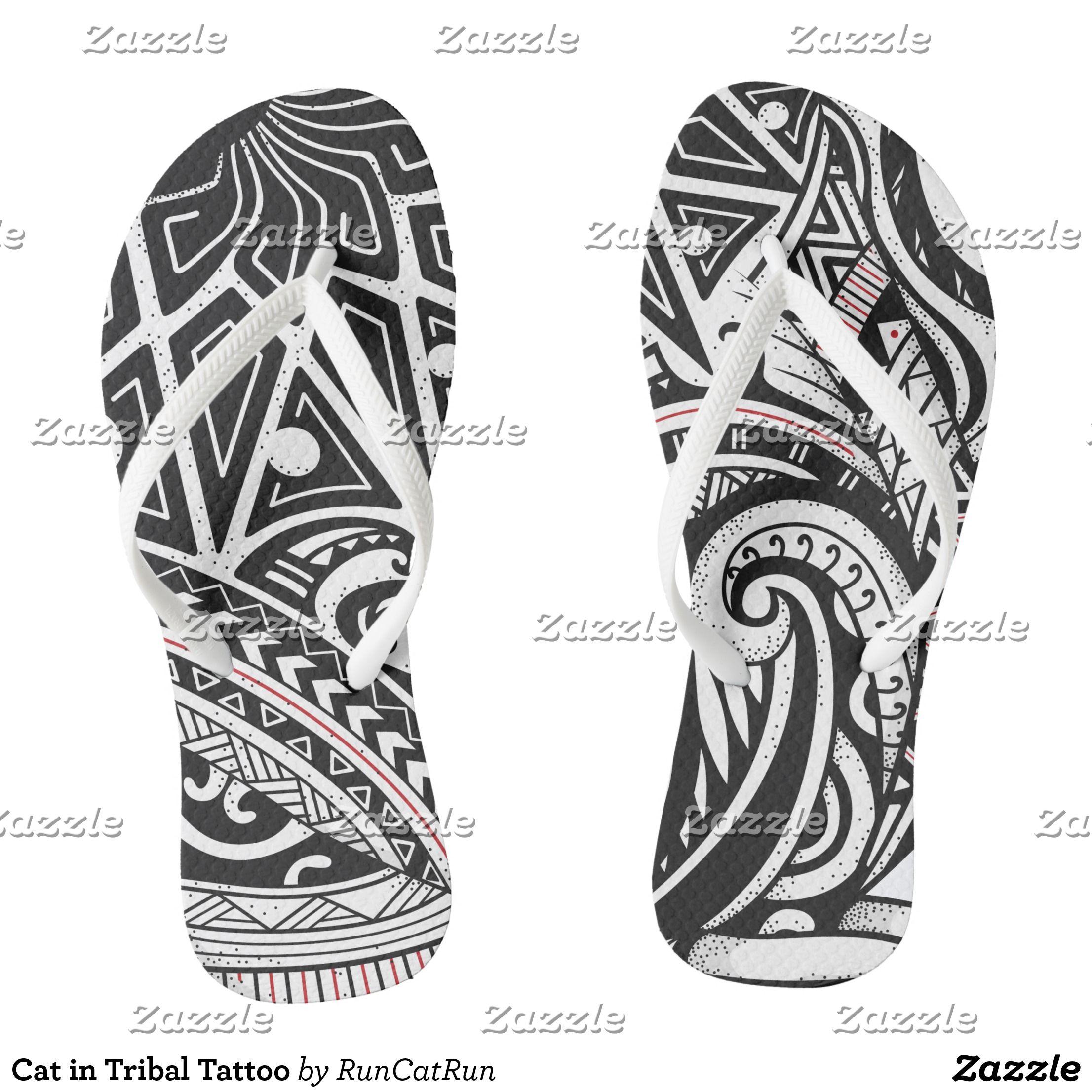 Cat in Tribal Tattoo Flip Flops in 2020