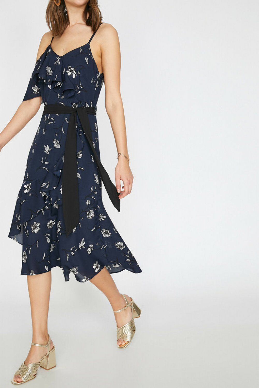 Koton Askili Cicek Desenli Siyah Midi Elbise Elbisebul Midi Elbise Elbise Elbiseler