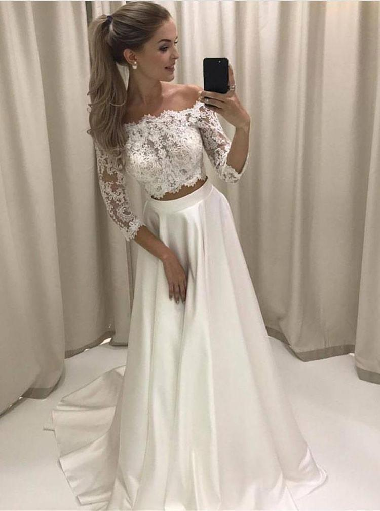 Two Piece Wedding Dresses Off The Shoulder Wedding Dresses Wedding Dress With Sleeves Wd00183 Prom Dresses Lace Prom Dresses With Sleeves Long Wedding Dresses