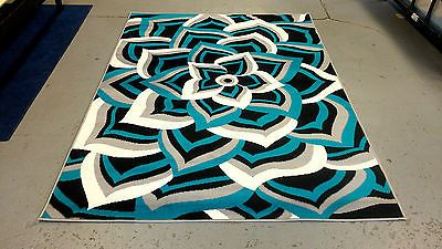 Modern Black White Gray Turquoise Blue Design 5x8 Area Rug Carpet