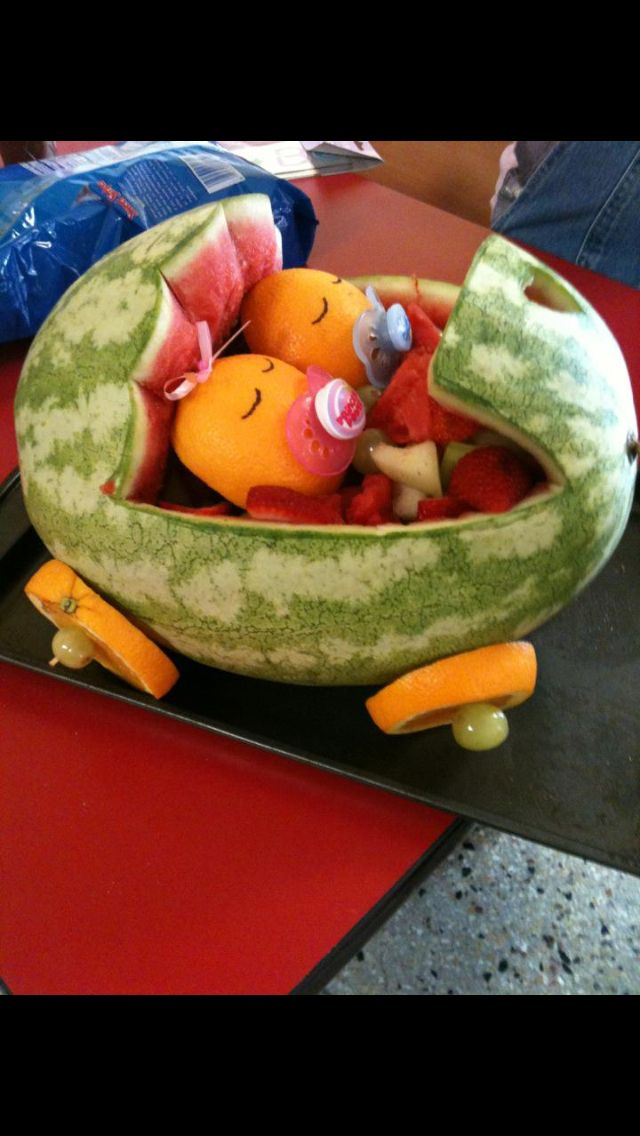 Baby Twin Watermelon And Fruit Carriage !