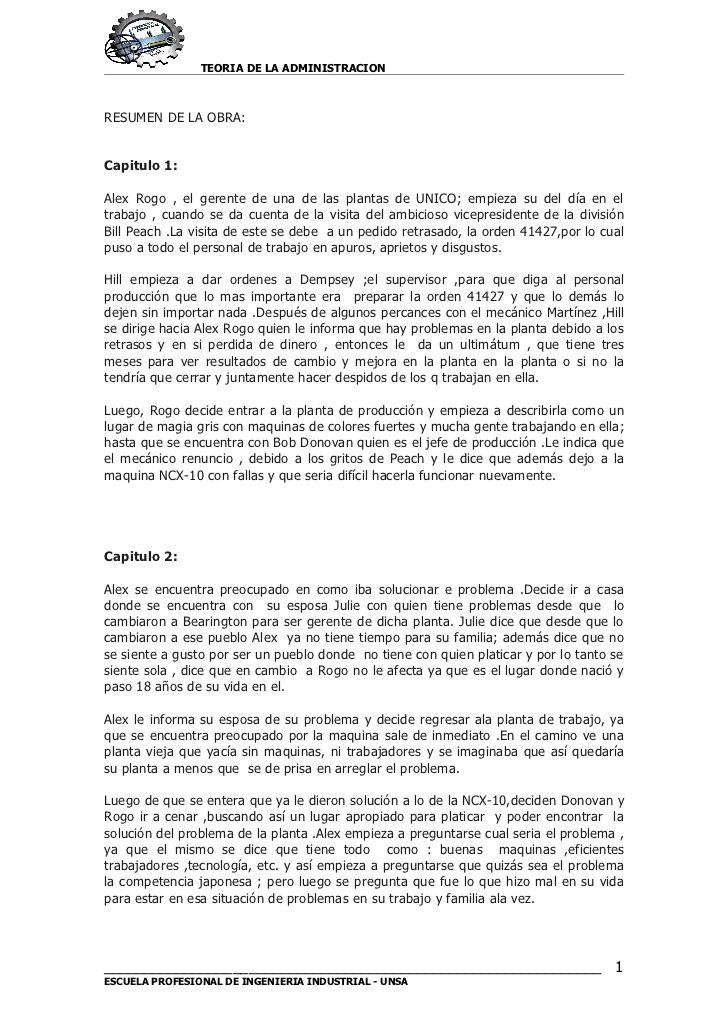 TEORIA DE LA ADMINISTRACION RESUMEN DE LA OBRA: Capitulo 1: Alex ...