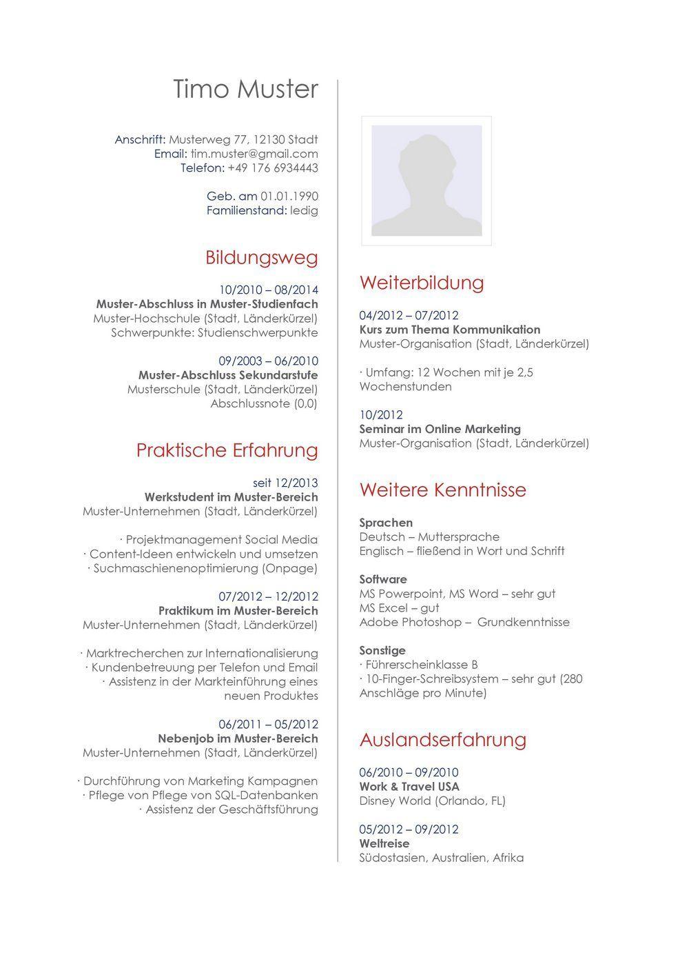 Lebenslauf Muster Vorlage 27 Architekt | Bewerbung | Pinterest ...