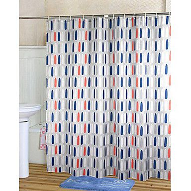 Shower Curtain Orange Amp Blue Print Thick Fabric Water