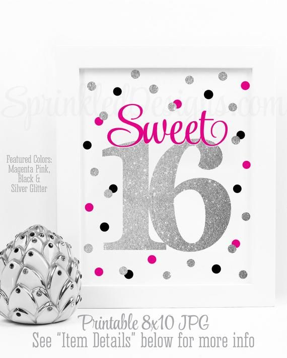 Sweet 16 Decoration, Sweet 16 Sign, Sweet 16 Centerpieces, Printable Sweet Sixteen Sign, 16th Birthd #sweet16centerpieces