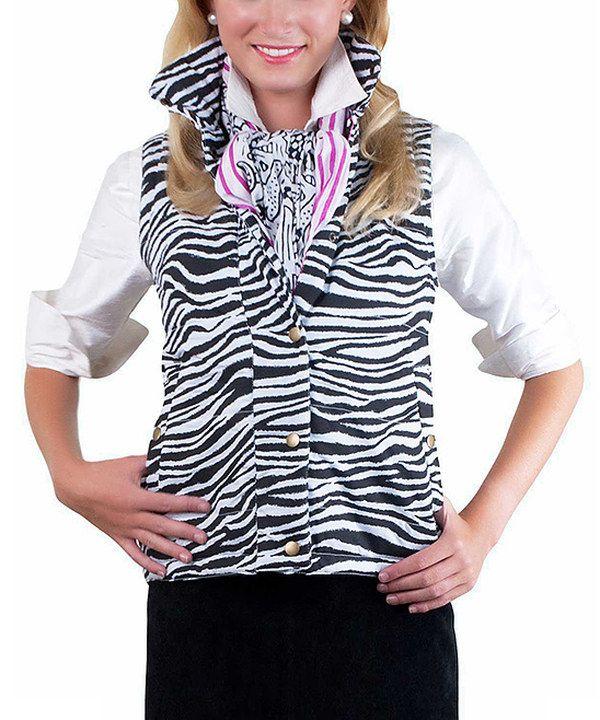 Black & White Zebra Puffer Vest by Gretchen Scott #zulily #zulilyfinds