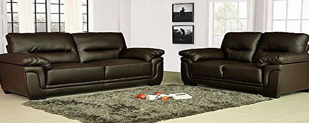 Kansas Brown Leather Sofa Suite 3 2 Seater Brand New 12 Months warranty FREE DELIVERY to ENGLAND