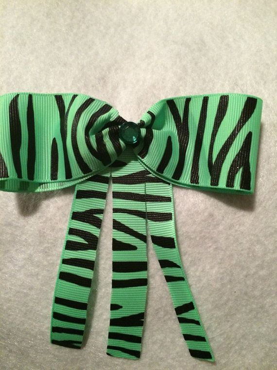 Green striped Hair Bow by HelgasHairBowDesigns on Etsy