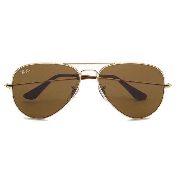 d57bf1d1ac Ray-Ban Aviator Large Sunglasses - Metal Gold ( 165) ❤ liked on Polyvore  featuring accessories