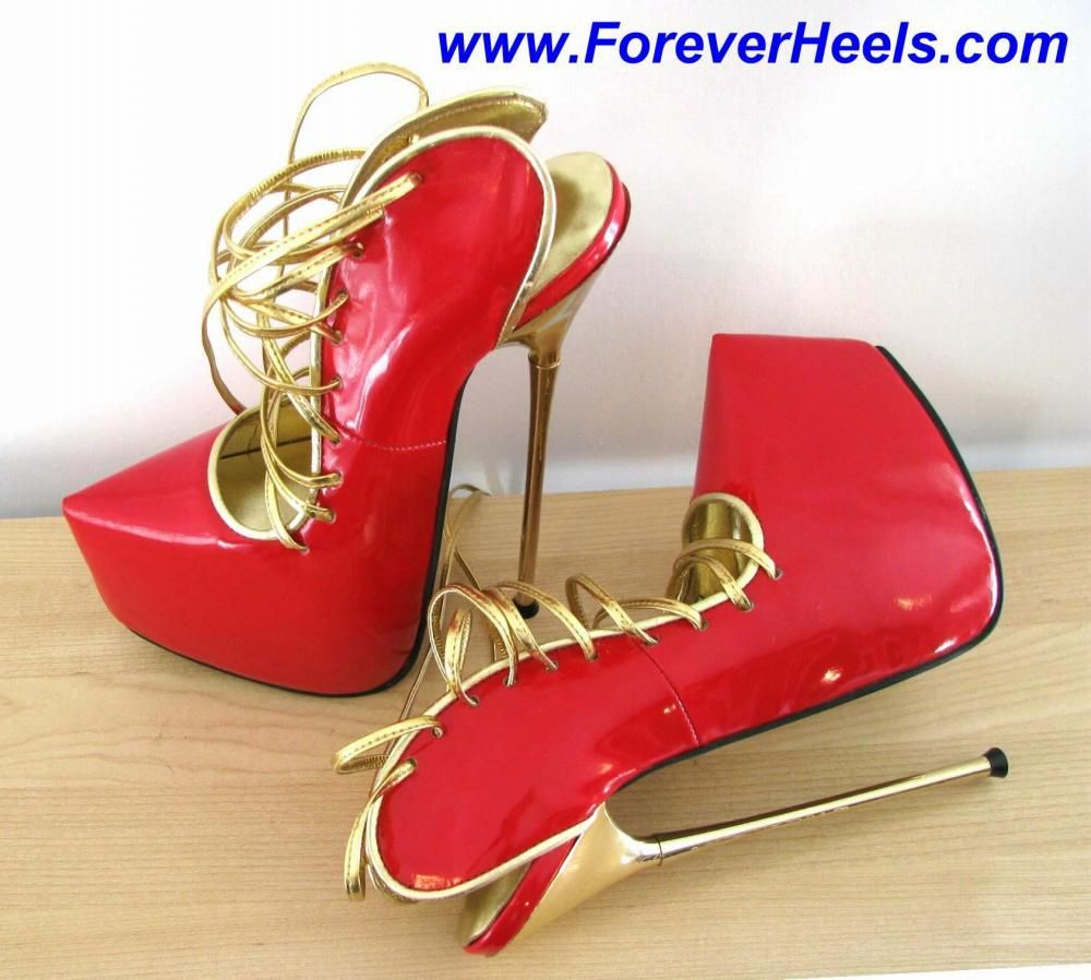 Hidden Platform, Red with Gold Lace, China Size 36, 20cm Gold Metallic Heels, Style VSA_OHLACE_20