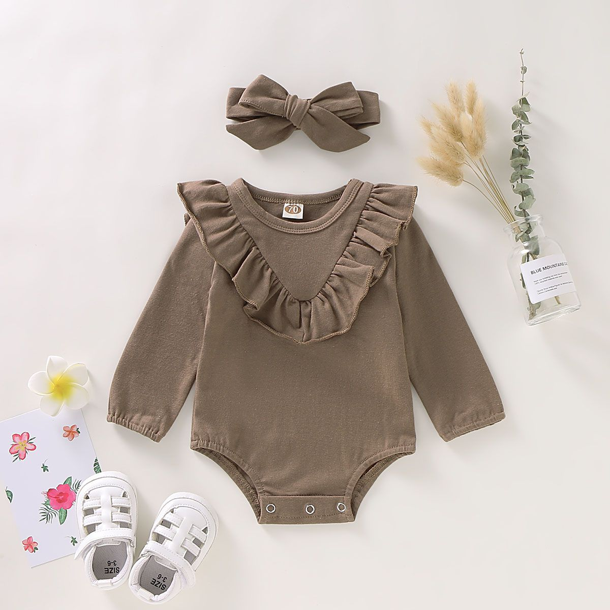 Newborn Infant Baby Girl Collar Romper Bodysuit Jumpsuit Headband Clothes Outfit