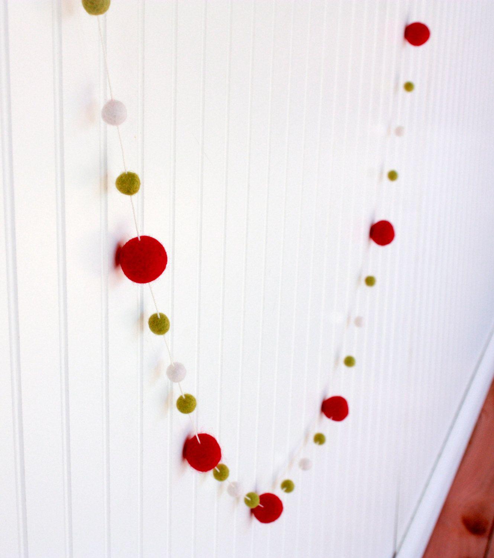 Christmas Felt Ball Garland Pom Pom Garland by TheFickleFeltTree