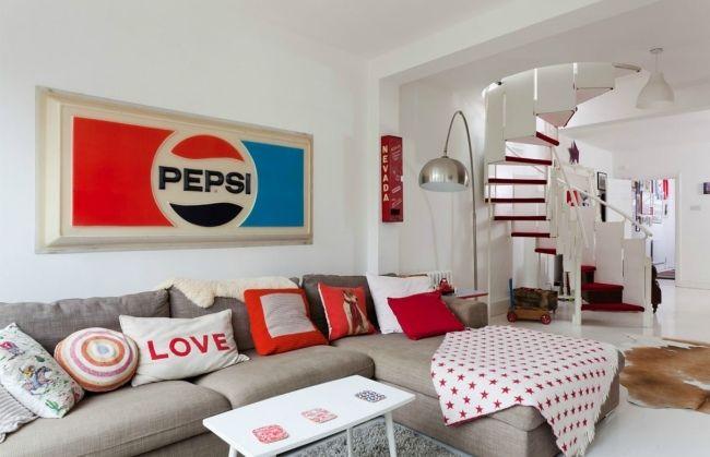 einrichtung retro stil wohnzimmer ecksofa grau pepsi deko kissen