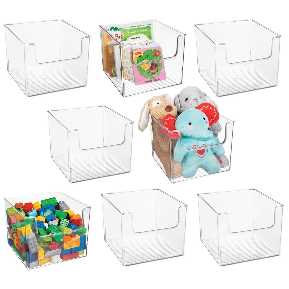 Plastic Home Storage Cube Bin For Furniture 10 X 10 X 7 75 Set Of 4 By Mdesign In 2020 Cube Storage Toy Rooms Cube Furniture