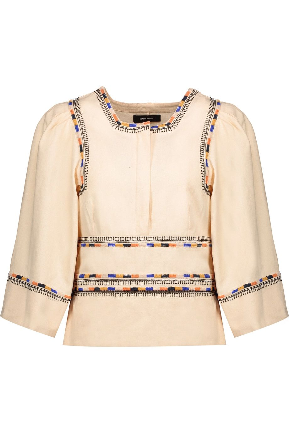ISABEL MARANT Siloe Embroidered Cotton Top. #isabelmarant #cloth #top