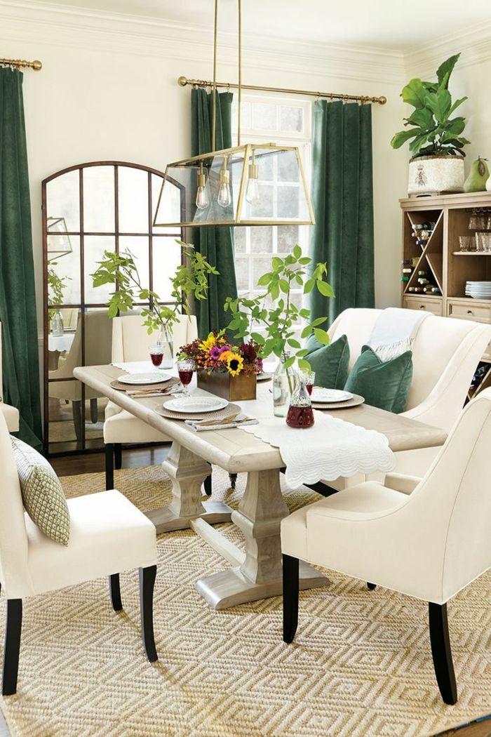 Wohnideen Esszimmer Grüne Gardinen Schaffen Eine Schöne Stimmung Im Raum