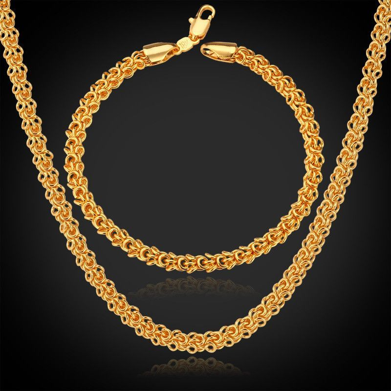 18k Real Gold Plated Round Chain Necklace Bracelet Jewelry Sets For Men Black Hills Gold Jewelry Gold Chains For Men Gold Bead Necklace