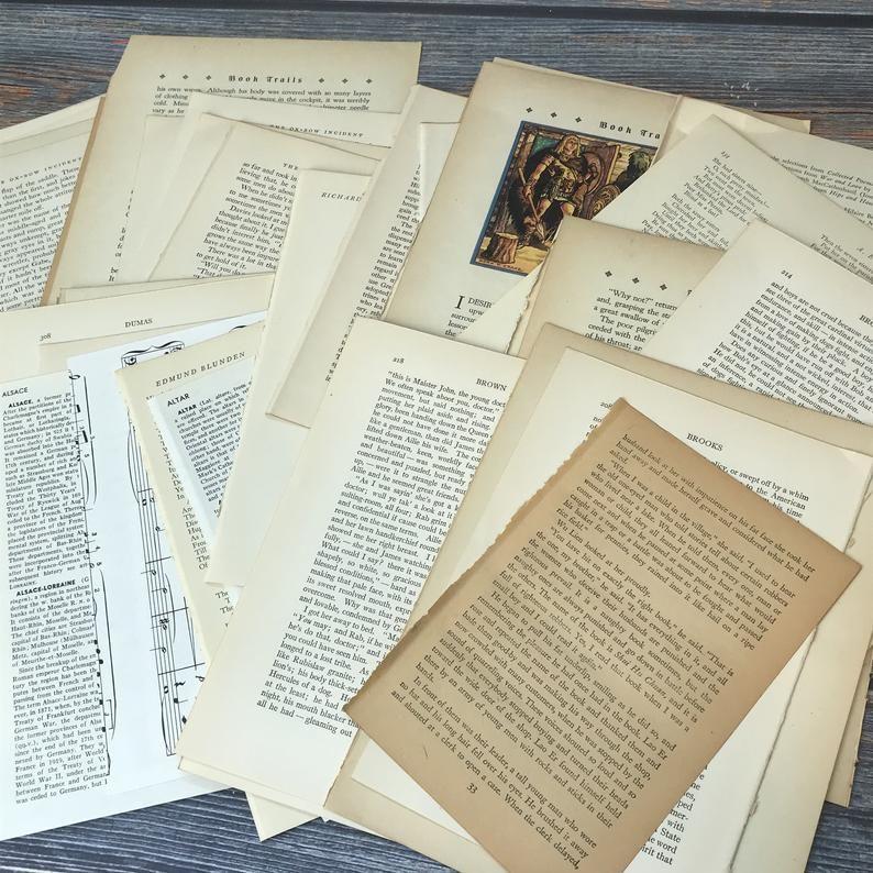 Vintage Book Pages Ephemera Paper Pack Scrapbooking Junk Journal 50 pages