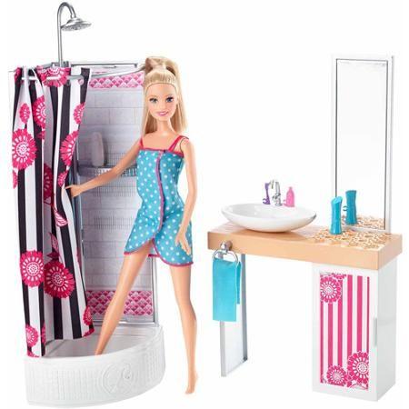 Barbie Doll and Bathroom Set