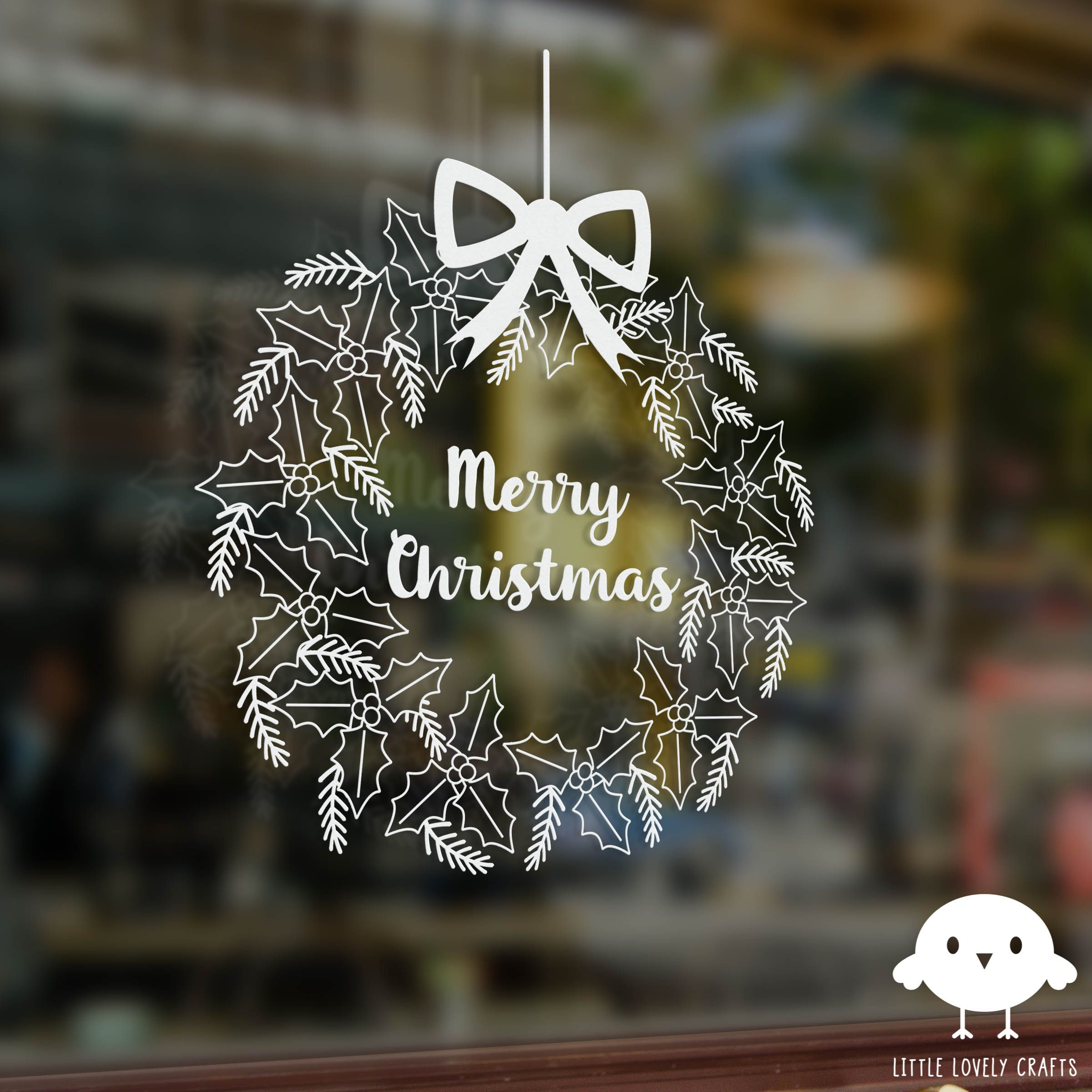 Christmas window drawing art with a chalk marker. Two free patterns!