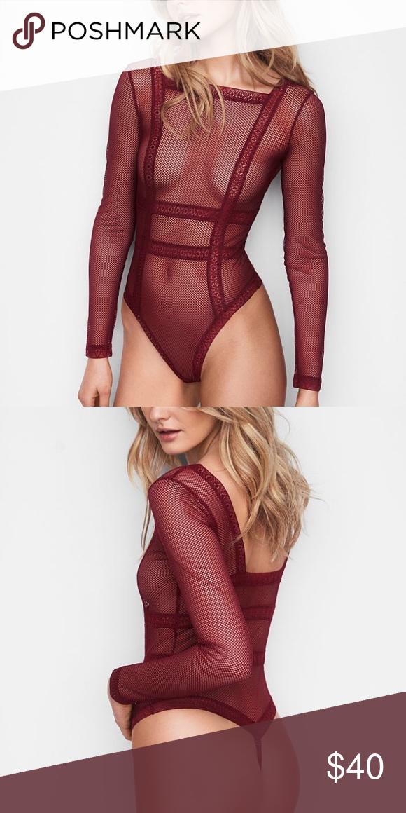 7535fd03ff0 Victoria s Secret fishnet long sleeve bodysuit Hotter than hot  this long-sleeve  bodysuit in sheer fishnet lace. Sheer