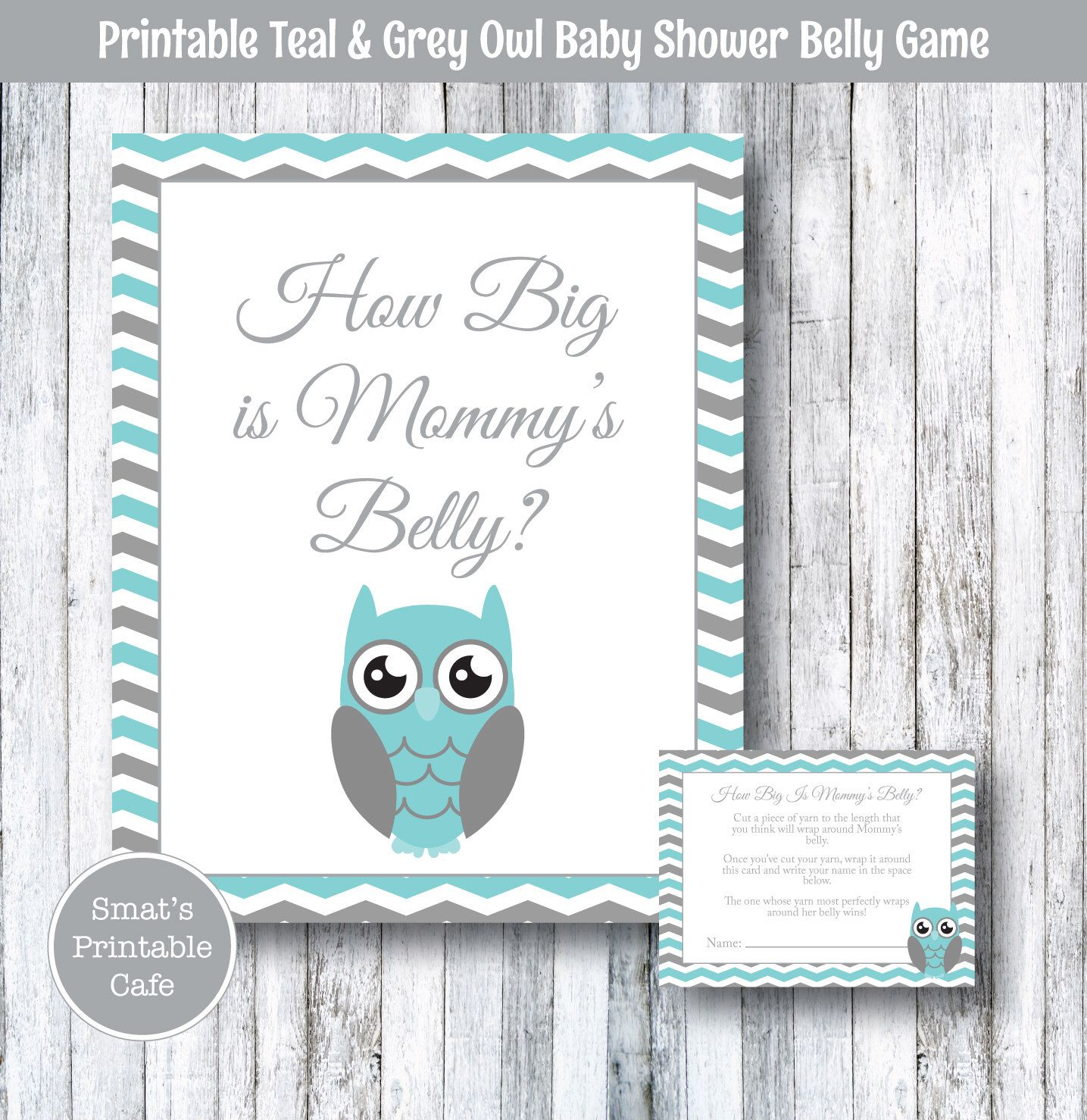 Teal & Gray Chevron Owl Baby Shower How Big Is Mommy s Belly Game