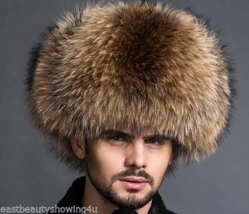 Genuine Raccoon Fur Trapper Hat With Tail /& Head Winter Men/'s Cap Real Fur LEDER
