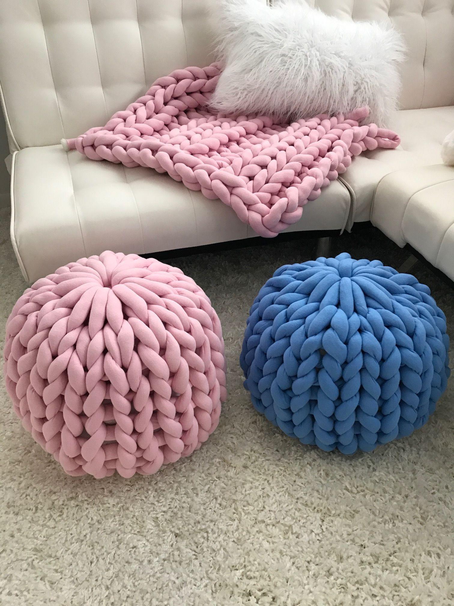 Chunky Knit Pouf Ottoman Cotton Tube Yarn Knitted Pouf Yarn