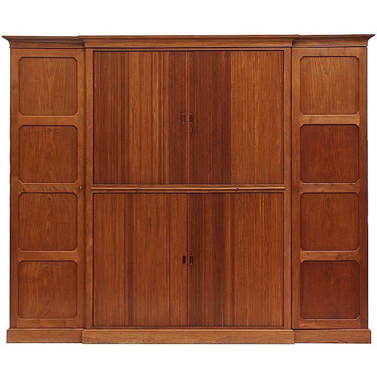 Rud Rasmussen Wardrobe Armoire Tambour Door Cabinet Rudolf Rasmussen Danish Scandinavian Modern Mahogany Oak Tambour Cabinet Door Storage
