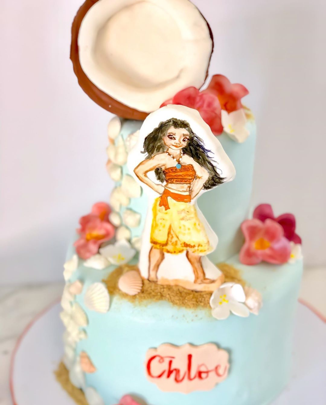Moana Cake with hand painted cake topper for a sweet 2