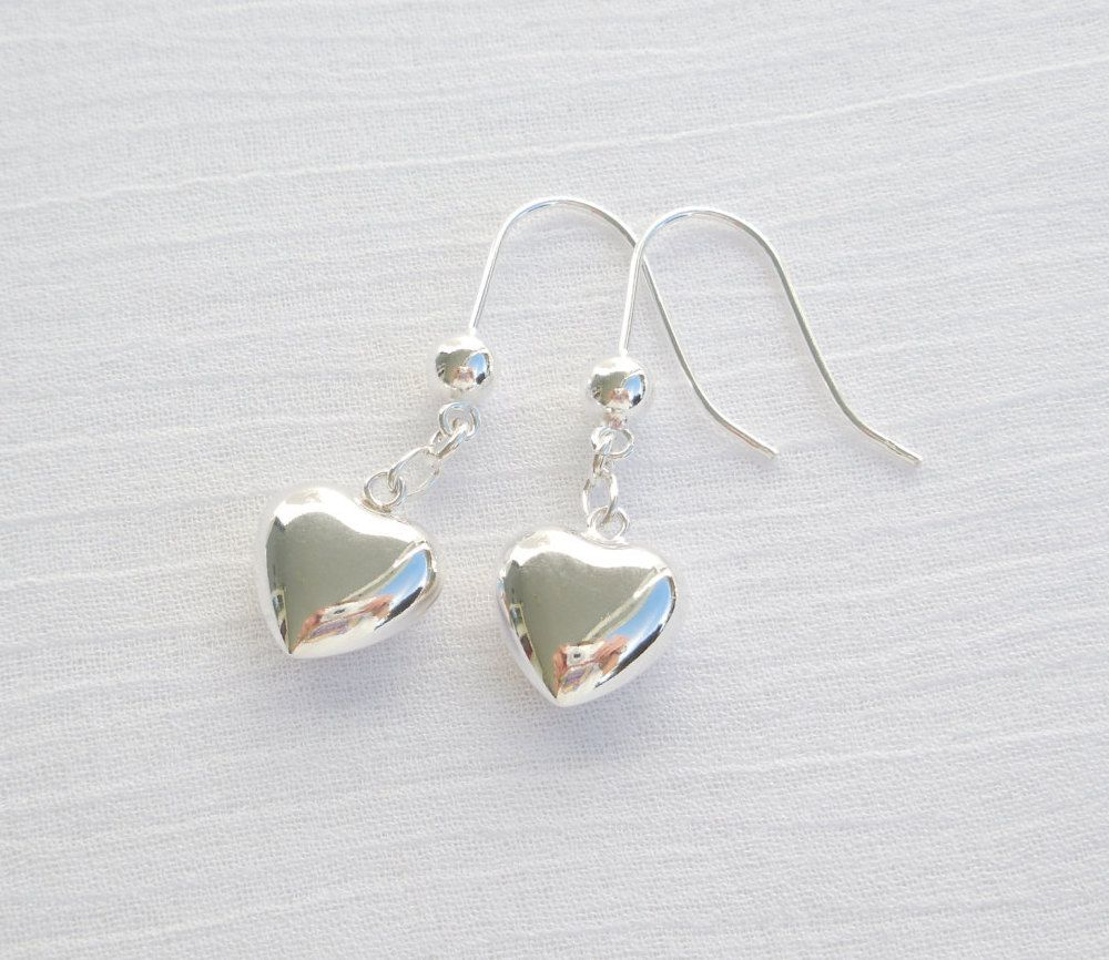 Sterling silver heart earrings by ParkhillDesigns on Etsy