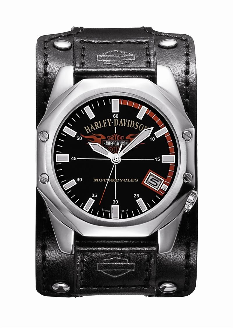 mens harley davidson thick black leather band watch by