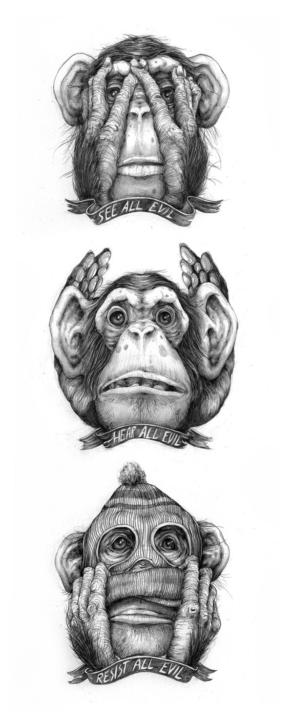 Ace Pat Perry Take On The See No Hear No Speak No Evil Monkey Parable Singe Dessin Art Malefique Dessin Hippie