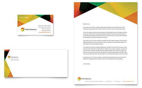 Public Relations Company Business Card  Letterhead Template By
