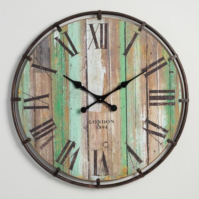 Wood And Metal Clayton Wall Clock 49 98 Bring Bold Industrial Flair To Your Decor With Our Ampl Farmhouse Wall Clocks Large Wall Clock Clock Wall Decor