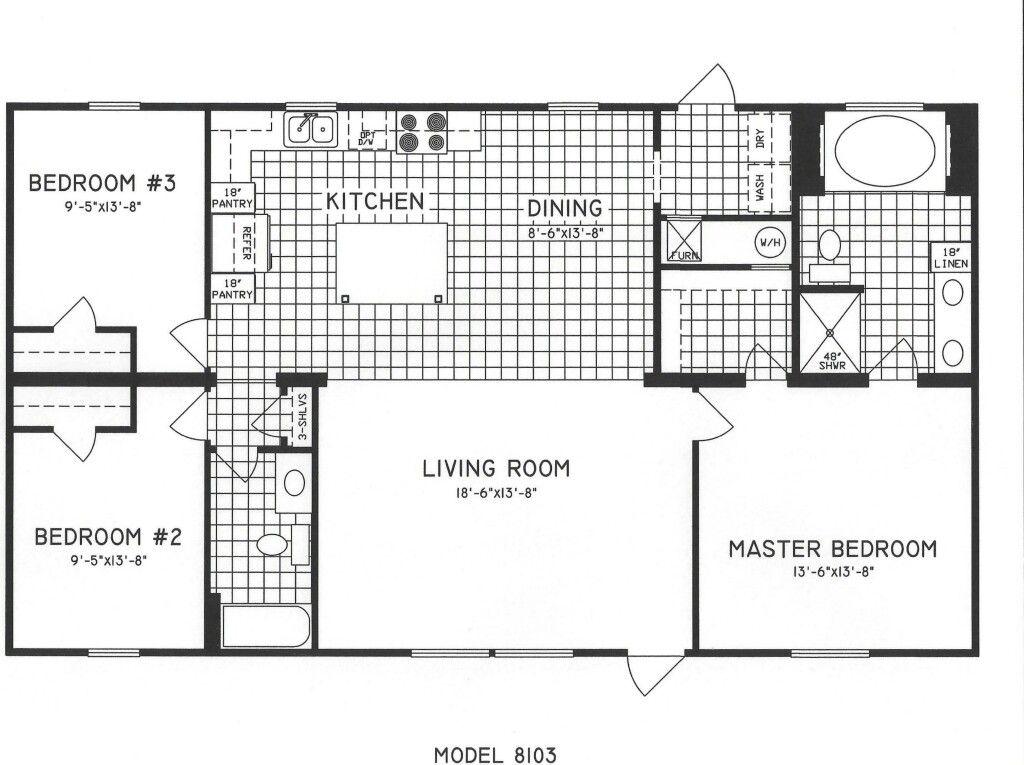 3 bed 2 bath Mobile home floor plans, Bedroom floor