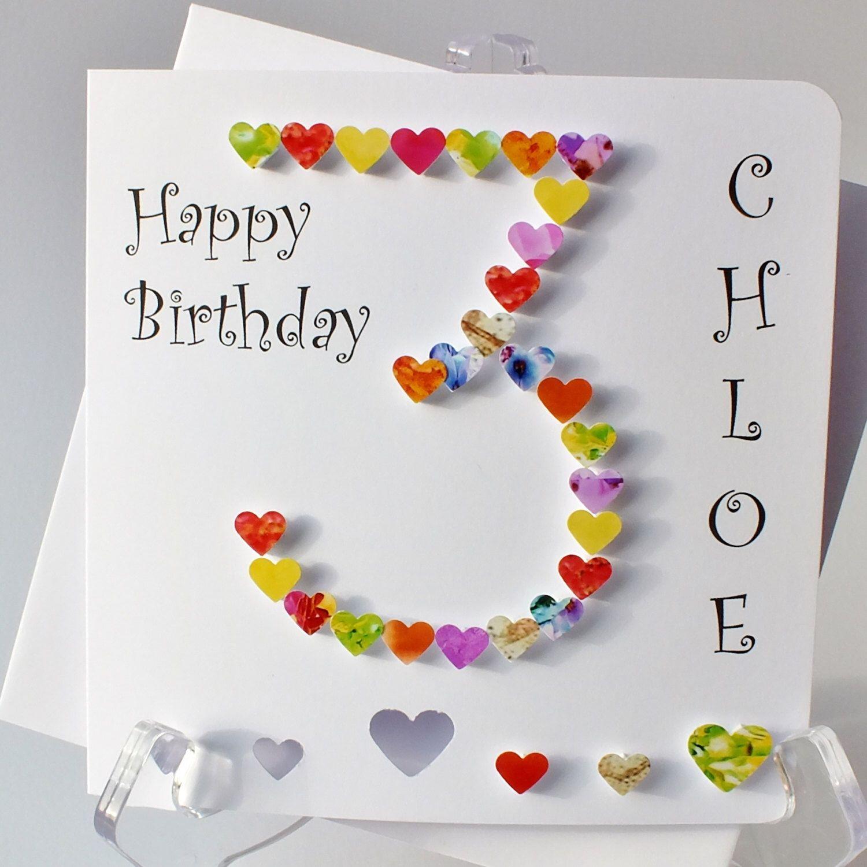 3rd birthday card personalised handmade age 3 card