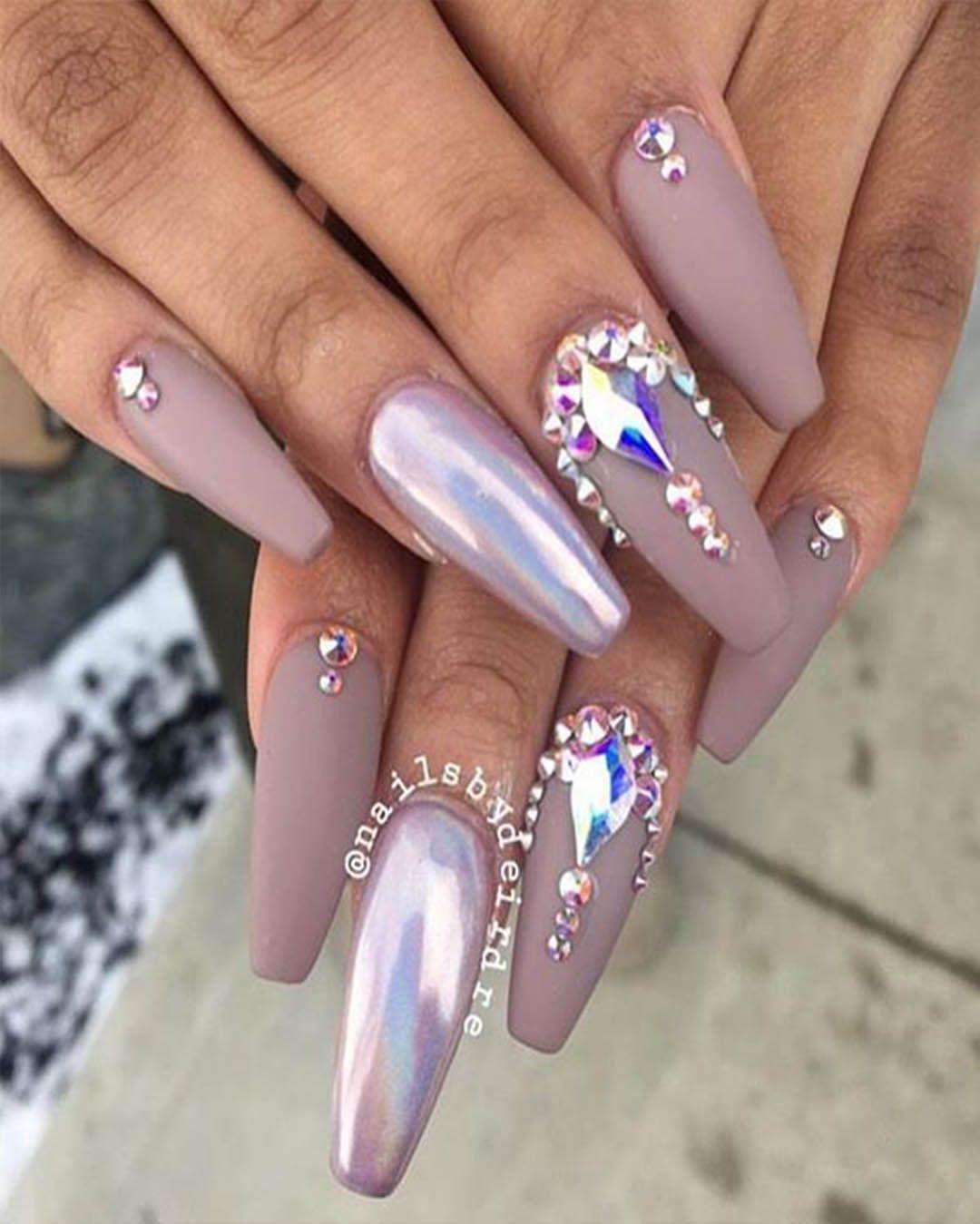 Elegant Coffin Nail Designs With Rhinestones Nails Design With Rhinestones Gem Nails Nail Designs