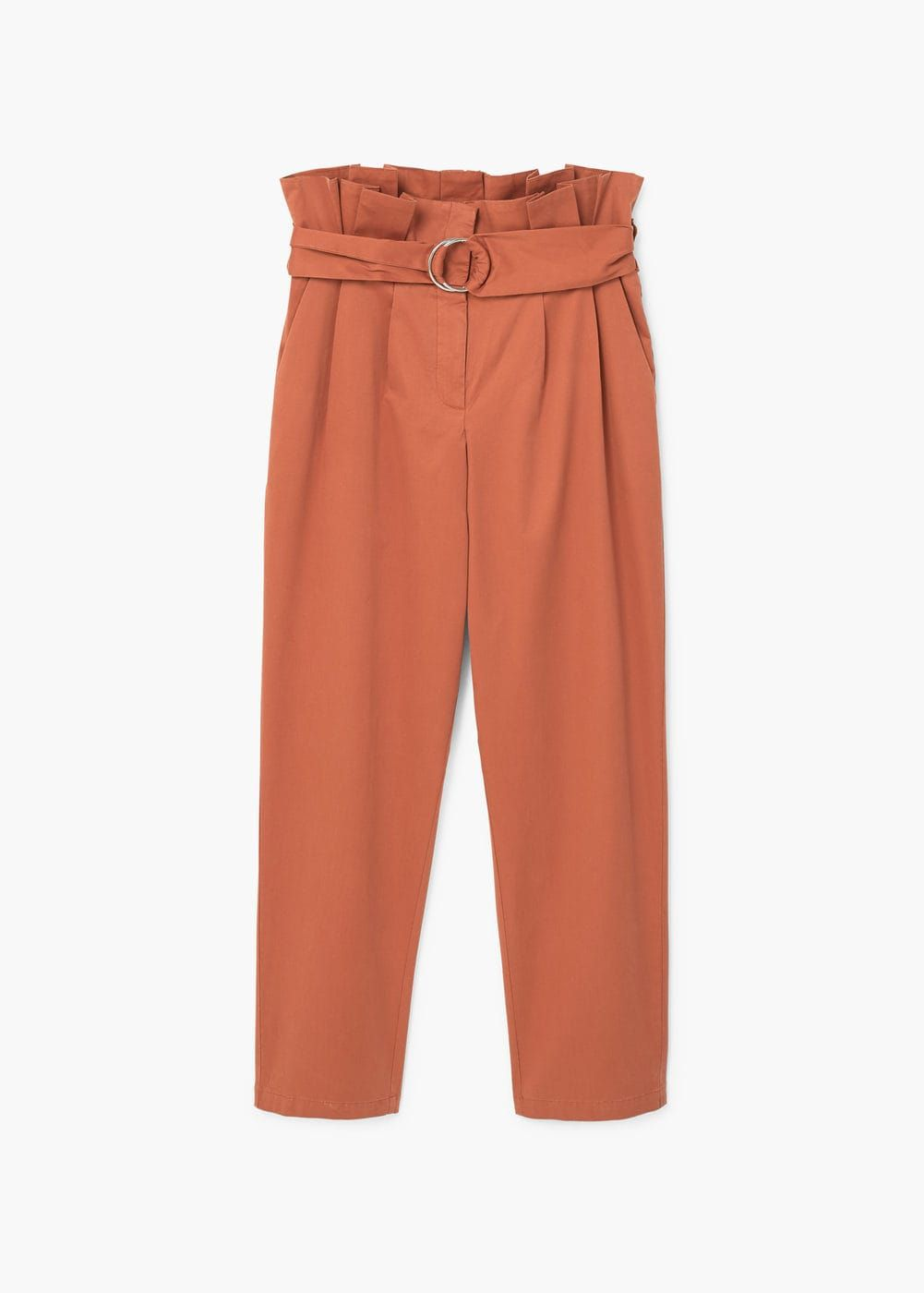 Pantalon en coton avec ceinture | MANGO