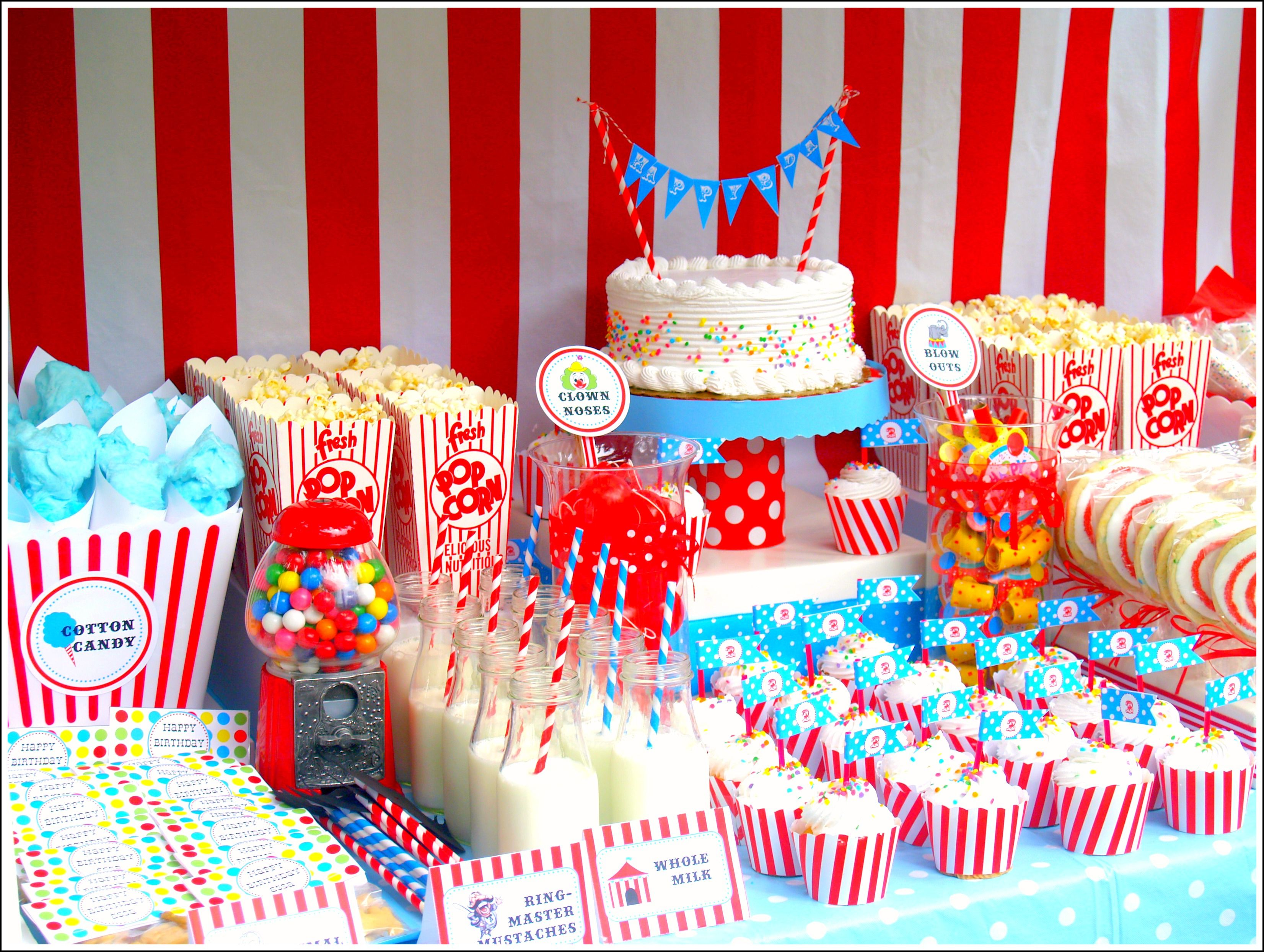 Treat table for Circus Themed Birthday Party
