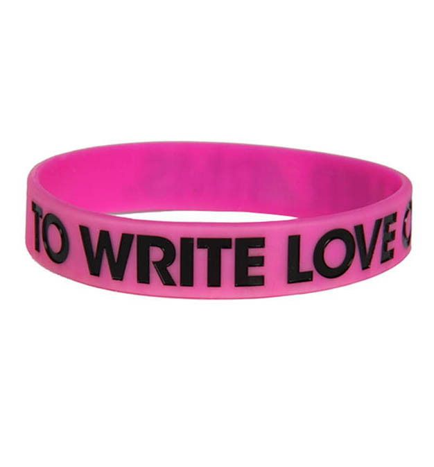 To Write Love On Her Arms debossed 3/4 inch silicone bracelet with black or blue print.