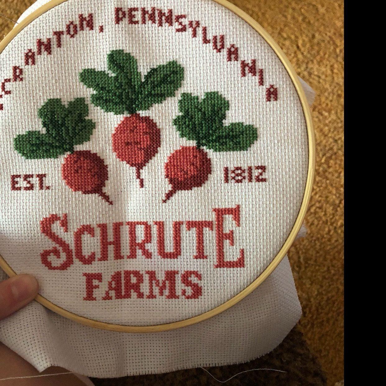 Photo of Schrute Farms Cross Stitch Pattern, Office Cross Stitch Pattern, TV Show Pattern, Modern Cross Stitch Pattern, Download PDF #tv014
