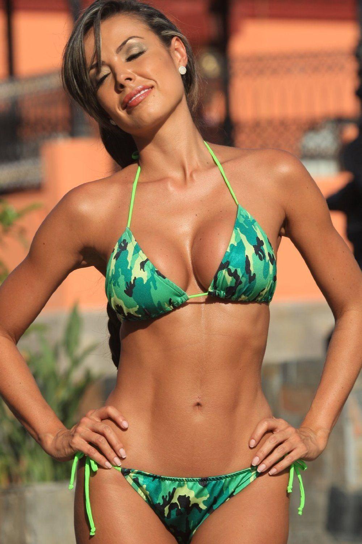 3ab992b9c2574 Neon Camo Colombian Tie Bikini Camo Swimsuit, Bikini Swimsuit, Colombian  Women, Crop Top