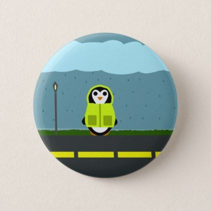 Rainy day penguin in a raincoat button raincoat rainy day penguin in a raincoat button negle Images