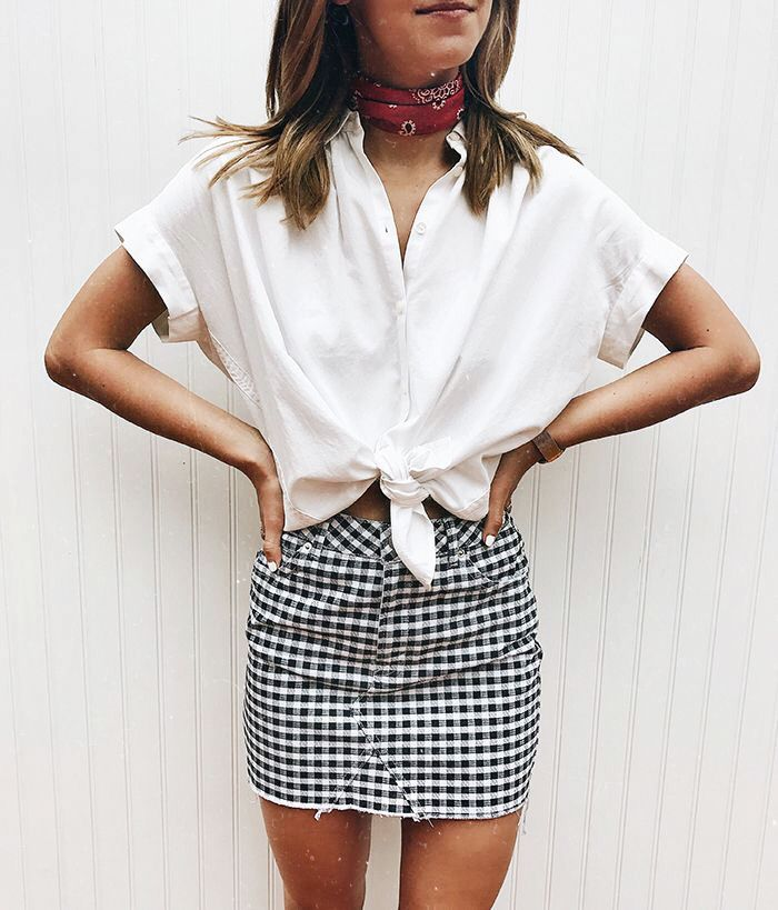 Neck scarf, gingham skirt, and white button up that ties style inspiration