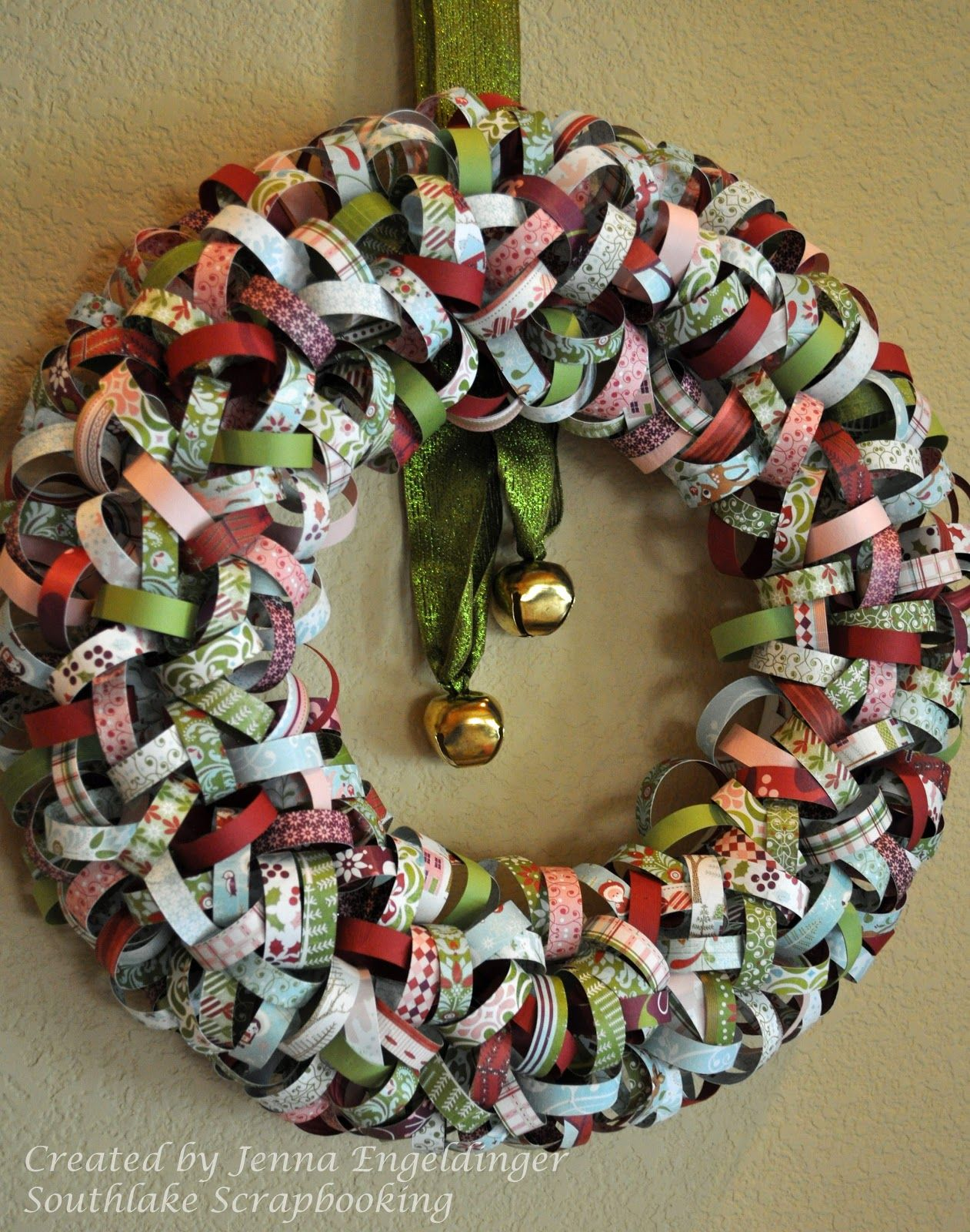 How to make scrapbook decorations - Wreath Made From Scrapbook Paper Paper I Used Basic Grey And Bazzill
