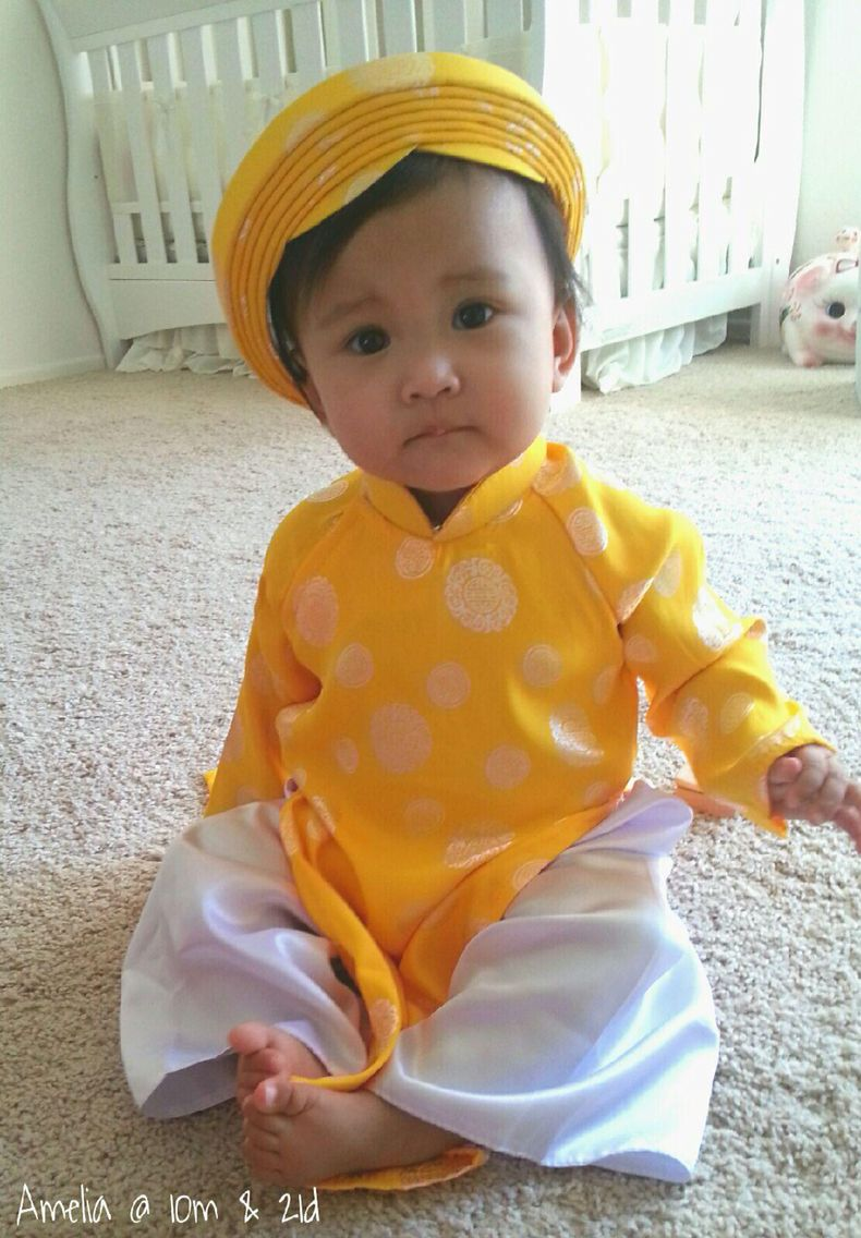 Baby Ao Dai with hat Chinese inspired design for Lunar New