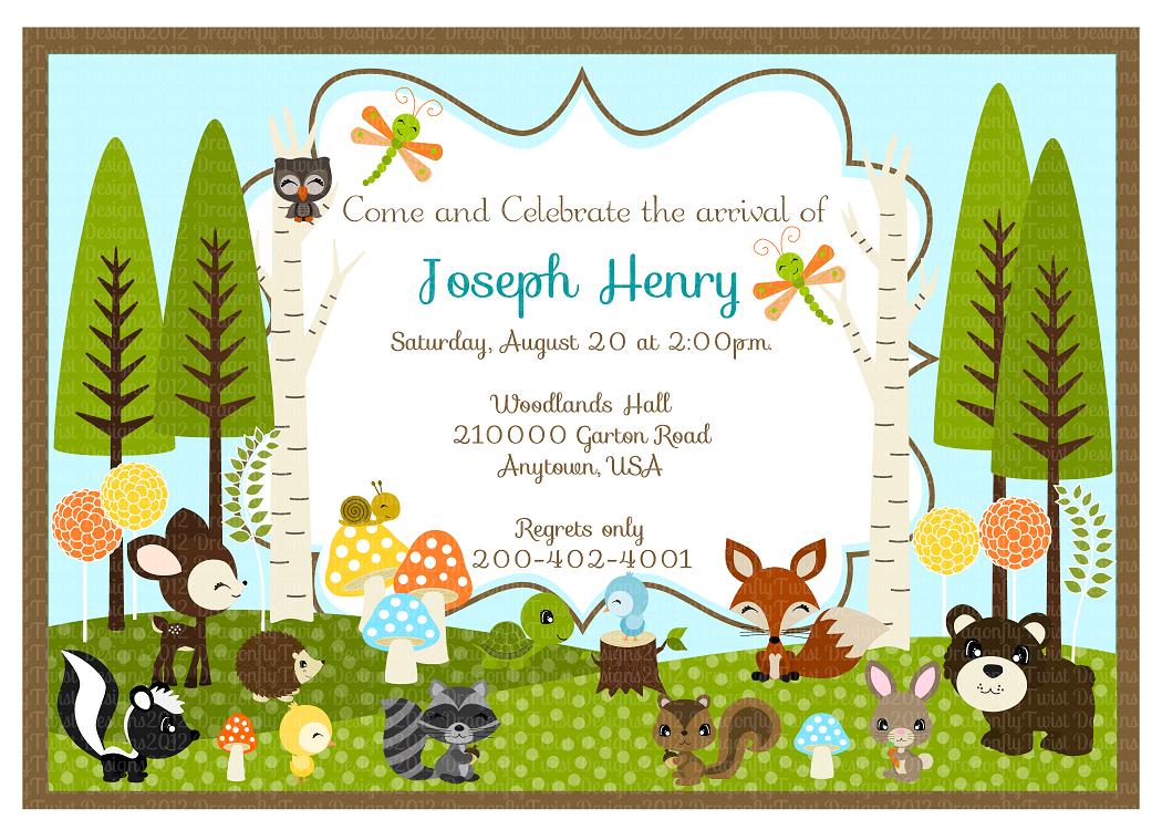 Woodland Friends Diy Collection  Birthdays, Baby Shower Invites,  Invitations 5x7 Wide