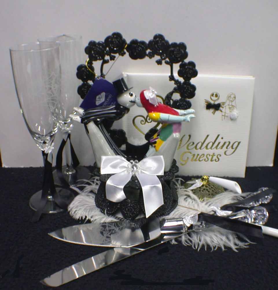 Nightmare Before Christmas Theme Wedding Cake Topper Or Glasses
